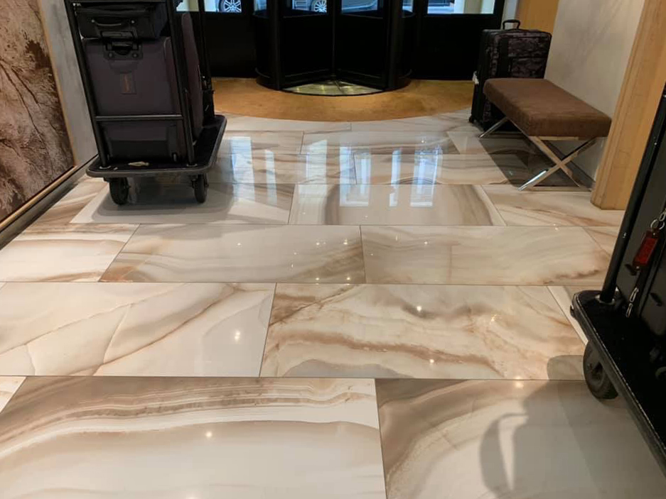 Marble floor after polishing