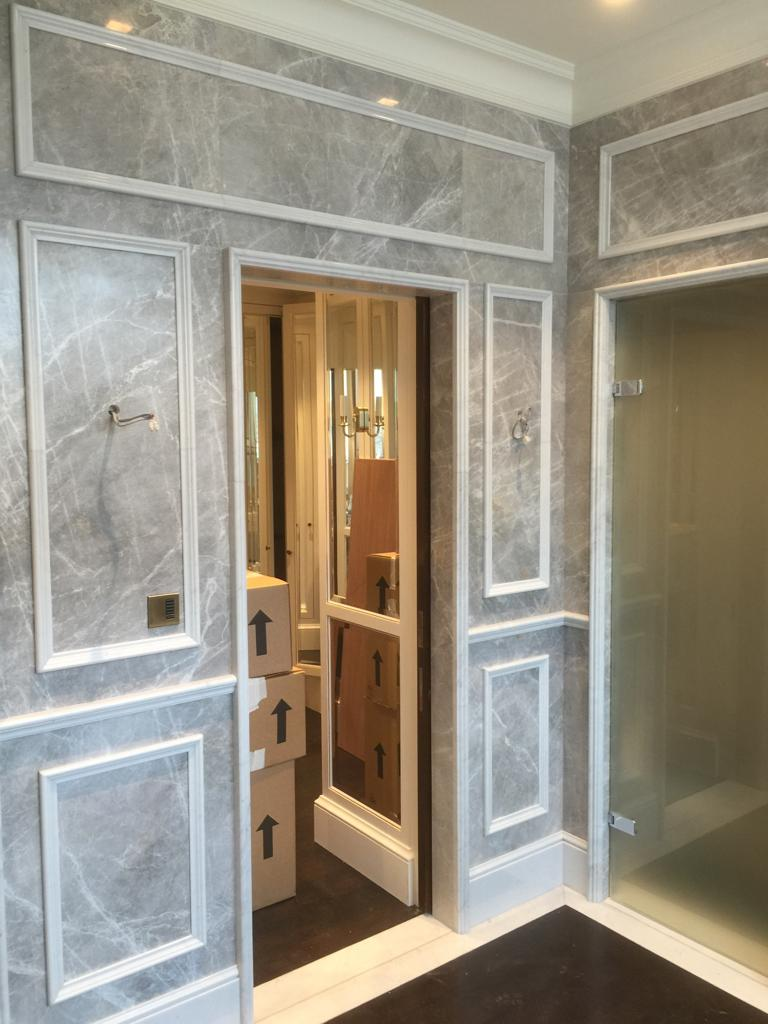 Granite doorway and panels installation