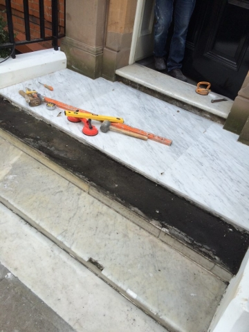 Marble steps during repair and renovation