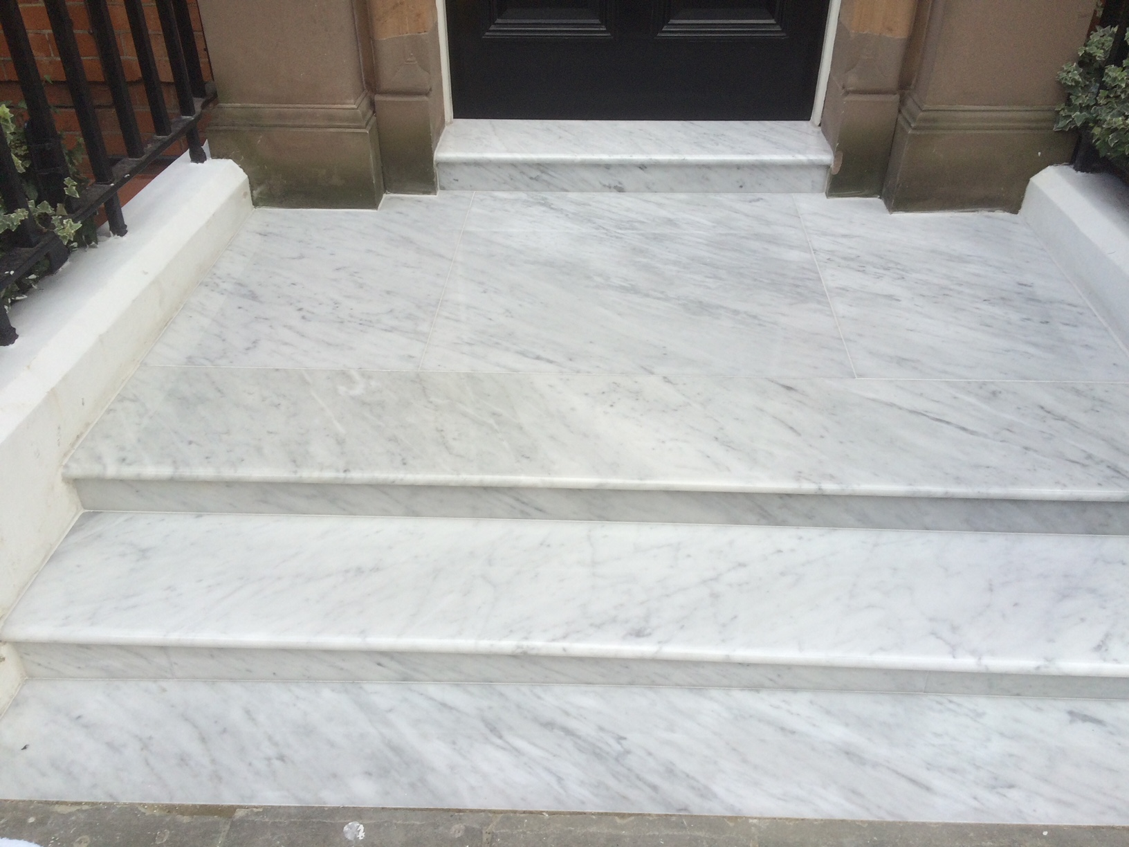 Marble steps after repair and restoration