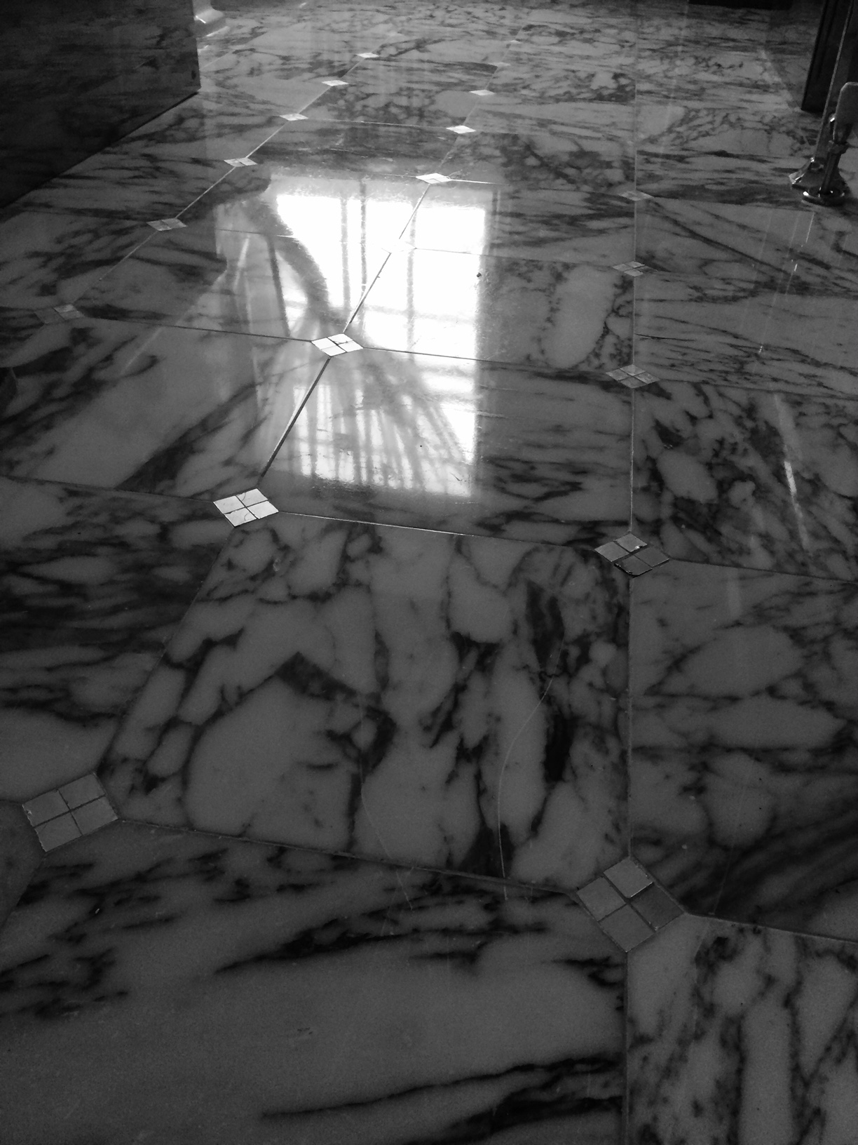 Renovated and polished marble floor