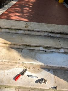 Marble steps before repair in london