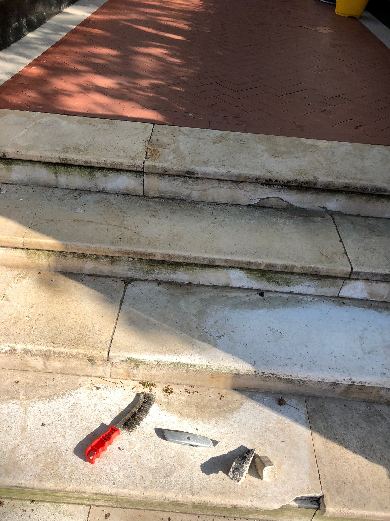Marble steps before repair and renovation