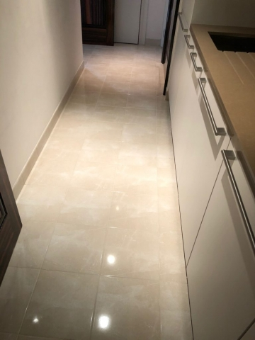Marble kitchen floor after polishing