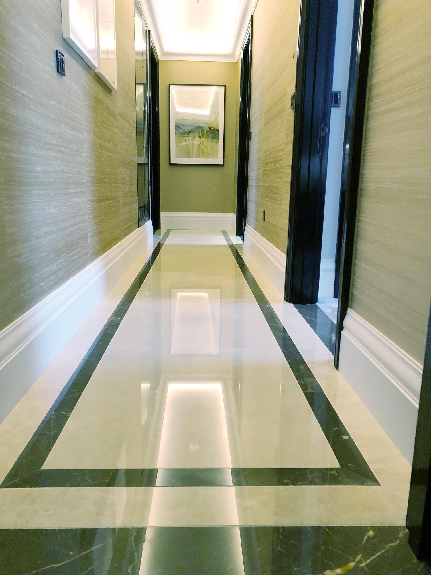 marble hallway after polishing
