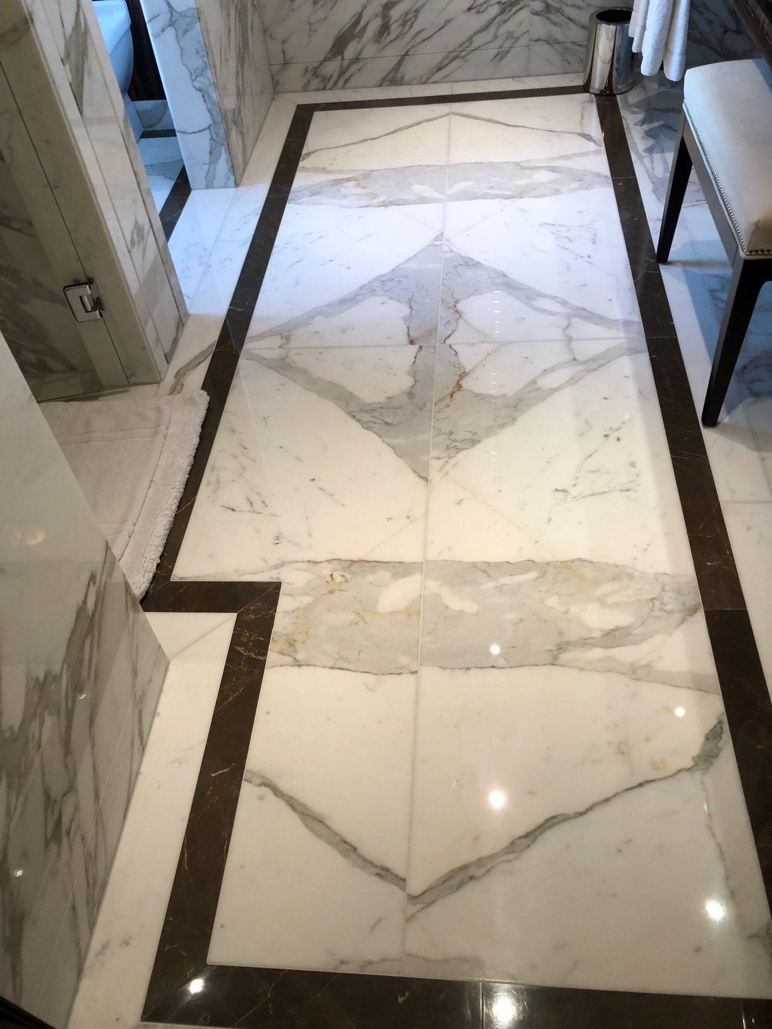 Marble hallway floor after polishing