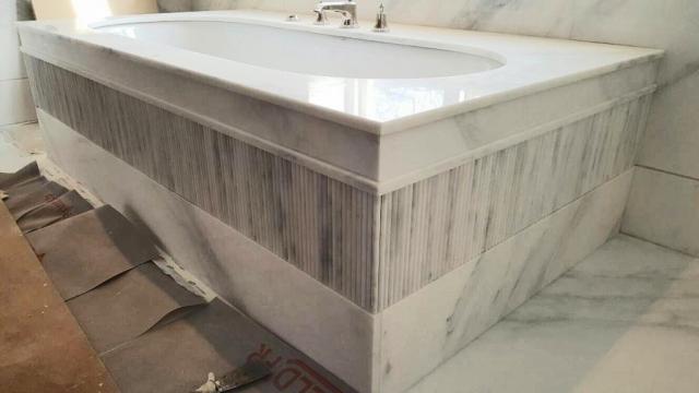 Marble Bath installation in progress