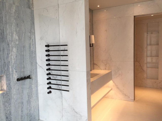Marble shower room installation